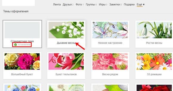 Темы оформления страницы в Одноклассниках